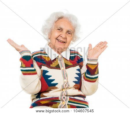 portrait of an elderly woman isolated on white background