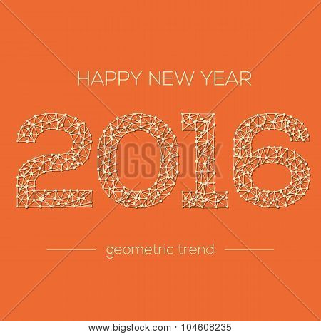 Happy New Year 2016 colorful greeting card made. Vector illustration for holiday design. Party poste