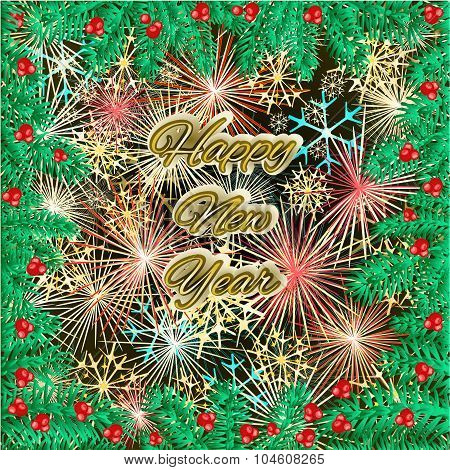 Happy New Year Fireworks And Spruce Branch Vector