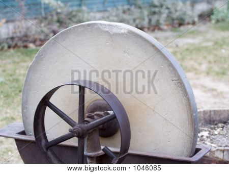 Old Pioneer Era Grindstone Closeup