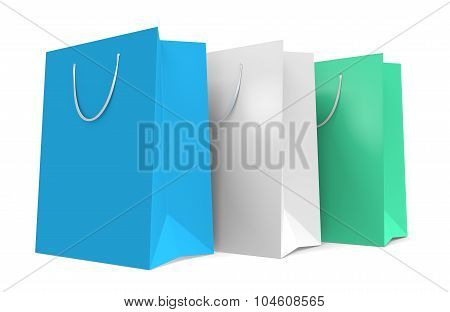 Three paper shopping bags with a teal and white color theme
