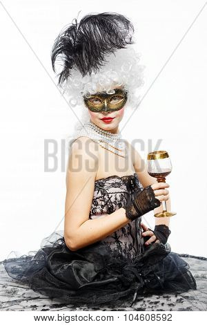 Princess In A Black Dress With A Glass Of Wine.
