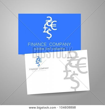 Financial Company - template logo. Sign of the money - a symbol of the dollar, euro, pound, and others. Presentation of the design for the financial companies, banks, currency exchange and etc.