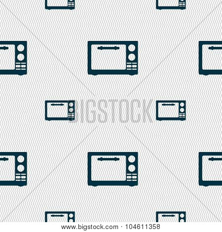 Microwave Oven Sign Icon. Kitchen Electric Stove Symbol. Seamless Pattern With Geometric Texture. Ve