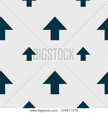 This Side Up Sign Icon. Fragile Package Symbol. Seamless Pattern With Geometric Texture. Vector