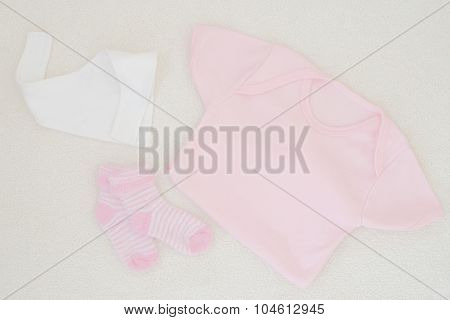 Newborn Baby Girl Clothes - Studio Shot From Above