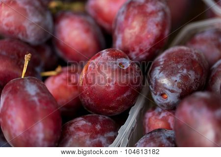 sale, harvest, food, fruits and agriculture concept - close up of satsuma plums in box at street market