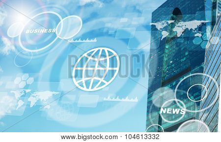 High-rise buildings with map and business word
