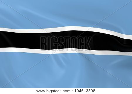 Waving Flag Of Botswana - 3D Render Of The Botswanian Flag With Silky Texture