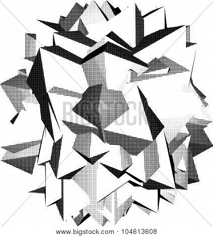 Abstract Star Shape Icon In Halftone Shading Over White