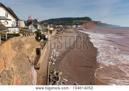 Sidmouth beach and seafront Devon England UK with a view along the Jurassic Coast
