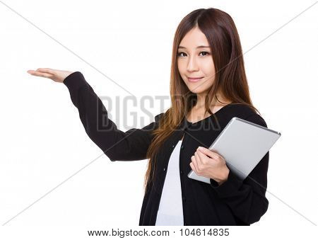 Woman hold with tablet pc and open hand plam
