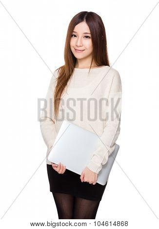 Asian Young woman hold with laptop computer