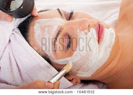 Detail der Anwendung Gesichtsmaske