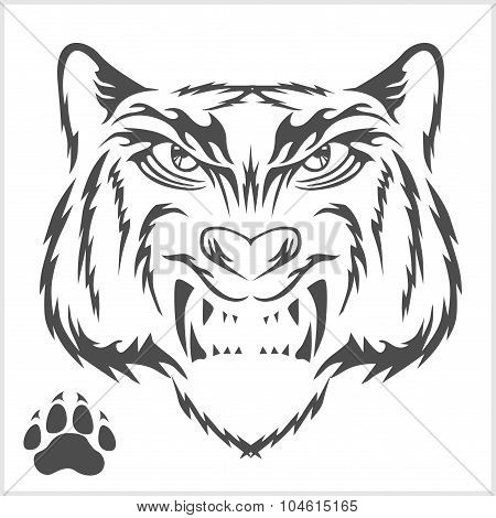 Tigers head and foot print tattoo design.