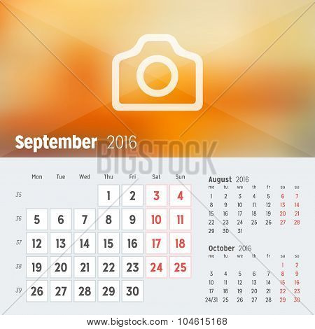 September 2016. Desk Calendar For 2016 Year. Vector Design Print Template With Place For Photo. Week