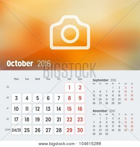 October 2016. Desk Calendar For 2016 Year. Vector Design Print Template With Place For Photo. Week S