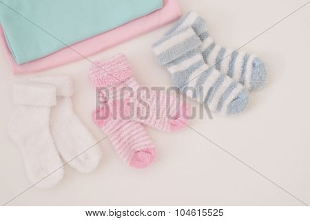 Little Baby Socks On White Background - Studio Shot