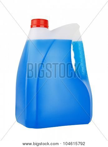 Bottle with non-freezing cleaning liquid isolated on white background