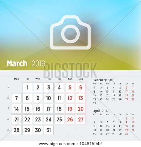 March 2016. Desk Calendar For 2016 Year. Vector Design Print Template With Place For Photo. Week Sta
