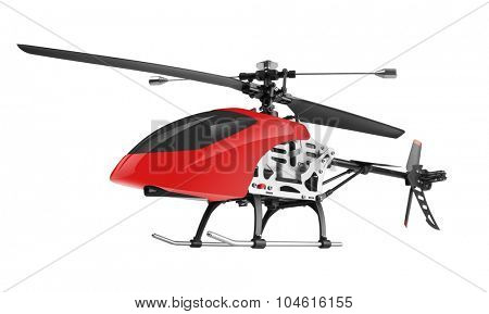 Remote controlled helicopter isolated on white background