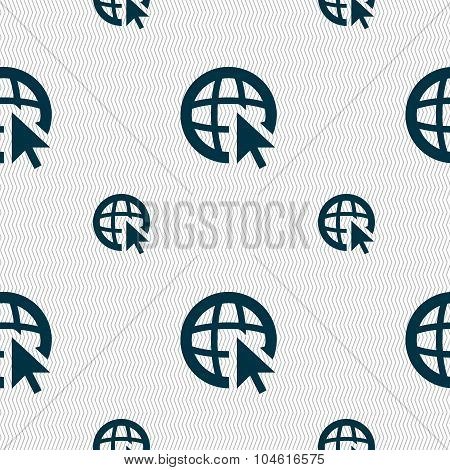 Internet Sign Icon. World Wide Web Symbol. Cursor Pointer. Seamless Pattern With Geometric Texture.