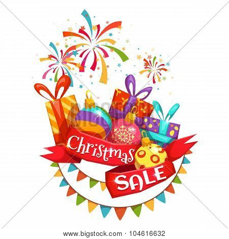 Christmas sale banner with ribbon and firework. Vector illustration