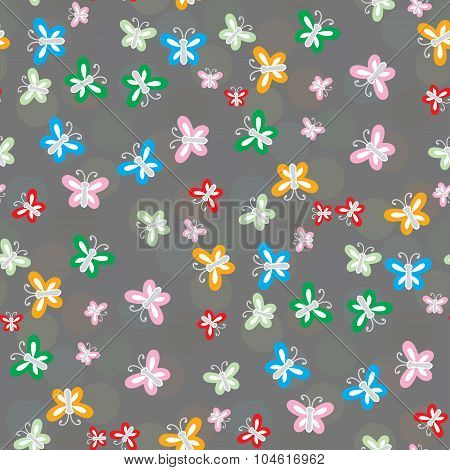 Seamless Pattern Of Colorful Butterflies