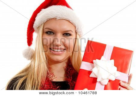 Portrait Of Woman With Christmas Hat And Present