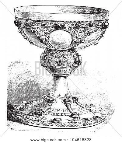 Chalice of St. Remi, vintage engraved illustration. Industrial encyclopedia E.-O. Lami - 1875.