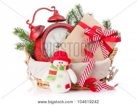 Christmas gift box, alarm clock and snowman toy. Isolated on white background