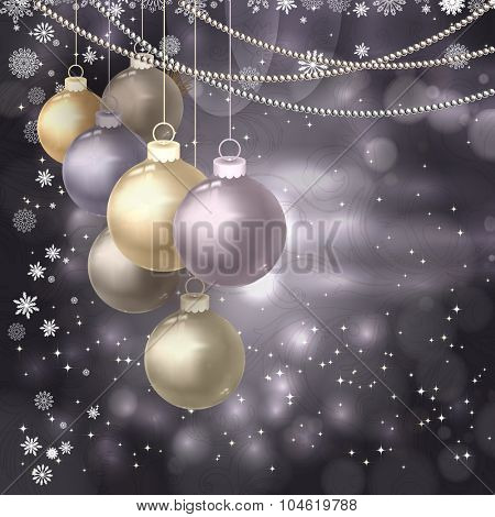 Christmas balls, beads, snowflakes on a dark magic background. Vector illustration.