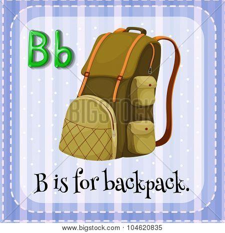Flashcard letter B is for backpack illustration
