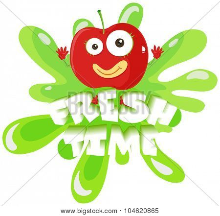Apple with face and text illustration