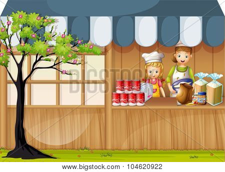 Girls selling food in foodstand illustration