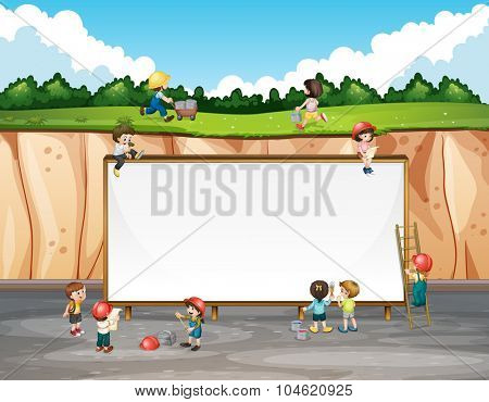 Banner design with children and cliff illustration