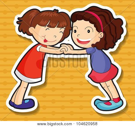 Two girls playing together illustration
