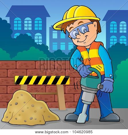 Construction worker theme image 8 - eps10 vector illustration.