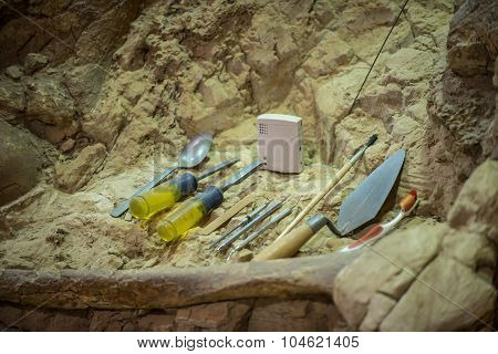 Archaeological Tools And Mammoth Fossils