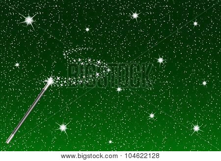 Winter night with falling snowflakes, magic wand and silver stream of stars