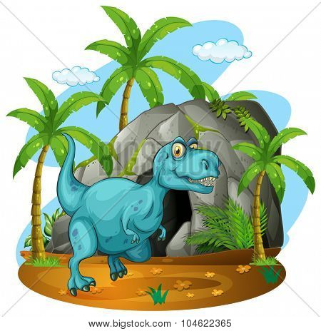 Dinosaur in front of the cave illustration