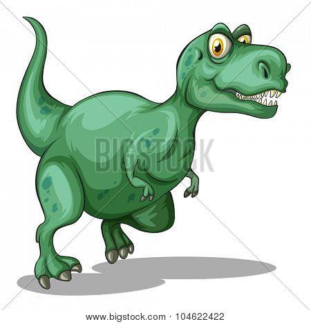Green tyrannosaurus rex standing illustration
