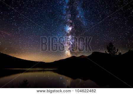 Milky Way Reflection In Lily Lake Colorado Landscape