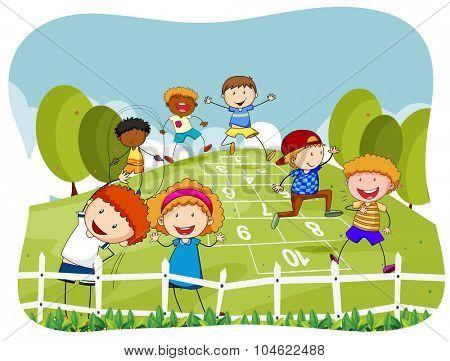 Children doing hopscotch in the park illustration