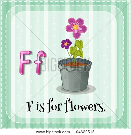 Flashcard letter F is for flowers illustration