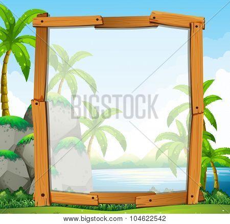 Frame design with river view illustration