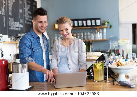 Small business owner in coffee shop