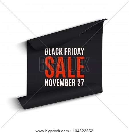Black rfriday curved paper banner.