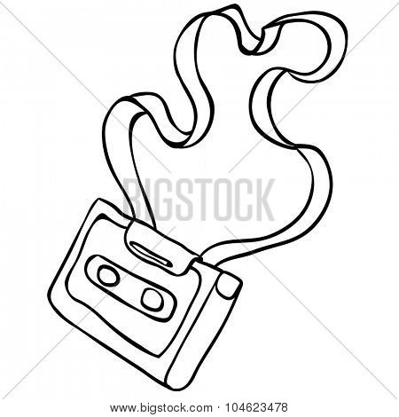simple black and white audio cassette cartoon