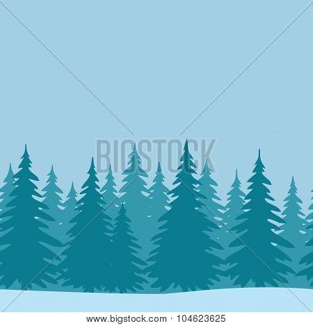 Fir Trees, Seamless Landscape